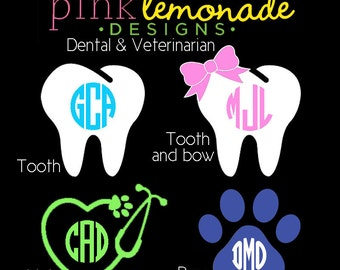 Dental Monogram Decal, Tooth Monogram Vinyl Decal, Personalized Vet Vinyl, Veterinarian Yeti Decal, Paw Print Monogram Decal