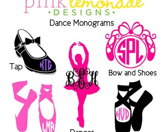 Dance Monogram decal, Tap dance Monogram Vinyl Decal, Ballet Monogram Decal, YETI decal