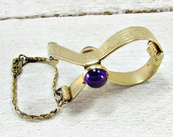 Vintage Gold Glove Holder, Purple Jeweled Glove Clip, Gold Glove Clip, Gold Glove Keeper, 1950s Formal Wedding Bridal Prom Fashion Accessory