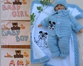 Crochet Personalized Dalmatian Puppy Blanket Cardigan Overall Booties Hat set Perfect Baby Shower Christening Newborn Gift /Take Home Outfit