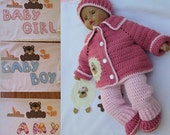 Crochet Personalized Little lamb Blanket Cardigan Overall Booties Hat set Perfect Baby Shower Christening Newborn Gift /Take Home Outfit