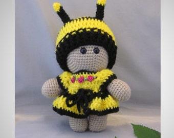 Crochet Amigurumi Baby Doll with colorful Bee dress, Super cute, Cuddly Baby Doll, Soft Toy, Waldorf Doll, Stuffed Doll, Rag  Doll