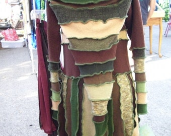 Upcycled Sweater Pixie Coat Green and Brown Boiled Wool Angora