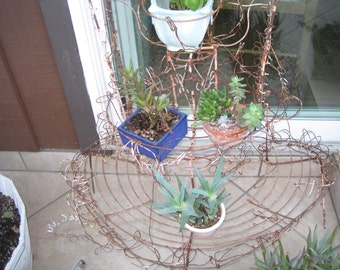 Old Shabby Chic Rusty Filigree Metal Garden Stand - Relic Art Garden Arbor - Rusty Primitive Potted Plant Rack