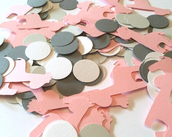 Giraffe Baby Shower Decorations / Giraffe confetti  Scatter /  Pink & Gray giraffe CONFETTI - Pink giraffe / Custom colors