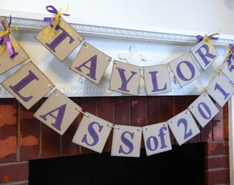 Graduation Party Decorations / High School Graduation Banner/ Class of 2017 Banner / Childs Name Decor/  You Pick the Colors