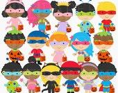 halloween clipart digital clip art trick or treat - Trick or Treat Kids Digital Clipart