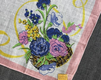 Vintage Unused Blue and Pink Floral Hanky from Kimball 1343
