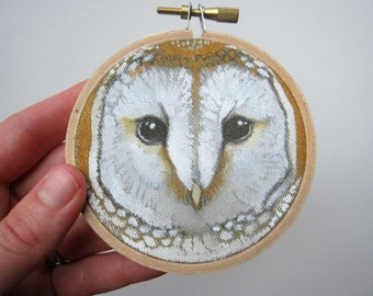 Embroidery Hoop Art - Owl Painting - Woodland Wall Art - Owl Nursery Decor