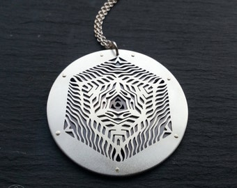 CassadyBell Geometric Collaboration Pendant - sterling silver and 9ct gold - Handcrafted Sacred Geometry Jewellery