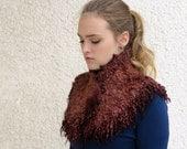 Felted collar Chestnut brown. Felted scarf. Brown felted neck warmer. Pure wool, Australian merino,  raw wool locks. Eco friendly felt fur.