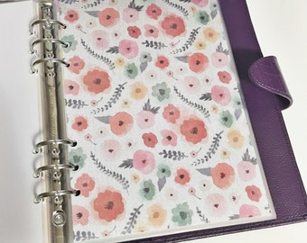 A5 Size Colorful Watercolor Floral Colorful Flowers Teal Pink Red Yellow Laminated Dashboard Filofax Large Kikki k Planner