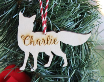 Woodland Animals Fox Christmas Ornaments,Babys First Christmas Ornament,Custom Personalized Christmas Decoration, Christmas in July