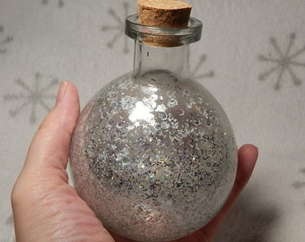 Silver rainbow sparkle potion bottle decorative for RPG LARP Steampunk costumes cosplay prop