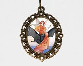 Bat Fairy Necklace, Mythological, Fantasy, Gothic, Witchcraft, Fairies, Bronze Oval Pendant