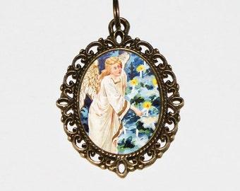 Christmas Angel Necklace, Christmas Jewelry, Christmas Tree, Angel Jewelry, Oval Pendant