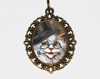 Pipe Smoking Cat Necklace, Tophat Cat, Cat Jewelry, Oval Pendant