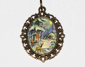 Deer Necklace, Winter Scenery, Woodland Animals, Moonlight, Forest, Moon, Bronze Oval Pendant