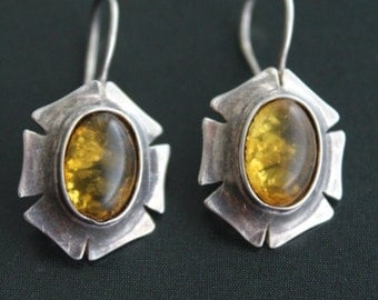 Vintage sterling silver Amber earrings, oval shaped natural honey green Amber, hand crafted