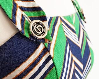 Vintage Dress - Long Sun Dress - Alex Jeunesse Dress - French Designer Dress - 1970s Chevron Dress - French Riviera - Greens and Blues
