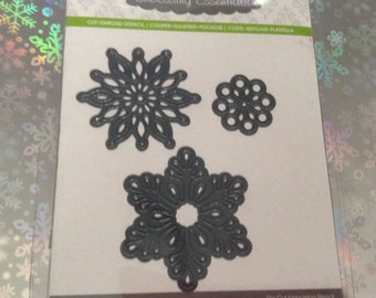 ASSORTED SNOWFLAKES Die Cut with Embossing Stencil by Darice