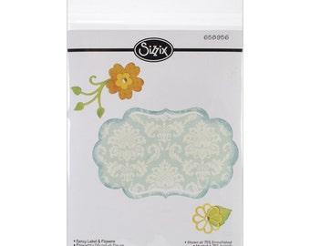 Sizzix Thinlits FANCY LABEL & FLOWERS - 658956