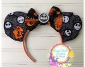 The Pumpkin King Jack Skellinton Mouse Ears with Pumpkin Bow!!