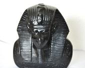 Black Stone Egyptian Statue, Pharaoh Sculpture, Black Decorative Accents, People Figures Indoor