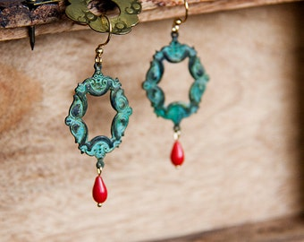 Patina Bohemian Drop Earrings Verdigris Art Deco Floral Dangle Earrings Christmas Jewelry - E283