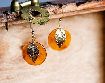 Amber Resin Leaf Earrings Autumn Orange Chips Gold Leaf Dangle Earrings Fall Autumn Jewelry - E284