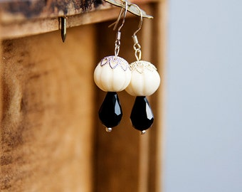 Black White Dangle Drop Earrings Silver Lace Ivory Pumpkin Bead Black Drop Delicate Graceful Jewelry - E285