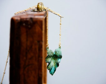 Patina Leaf Necklace Nature Inspired Verdigris Green Leaf Pendant Patina Jewelry - N310