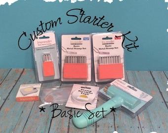 Basic Starter Kit, Hand Stamped Jewelry Making DIY Stamp Kit, Metal Alphabet Set, Hammer, Steel Bench Block, Comic Sans, Choose Size