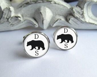 Monogram Cufflinks, Bear Cufflinks, Personalized Mens Cuff Links