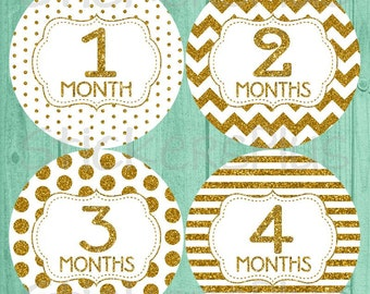 Baby Girl Monthly Stickers PreCut Gold White Glitter Number Chevron Dots Stripes Milestone Bodysuit Month Stickers Photo Prop Nursery Decor