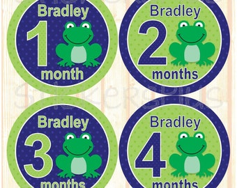 Personalized Monthly Baby Stickers Custom Name Baby Boy Frog Navy Blue Green Dots Bodysuit Baby Stickers Baby Month Stickers Nice Gift