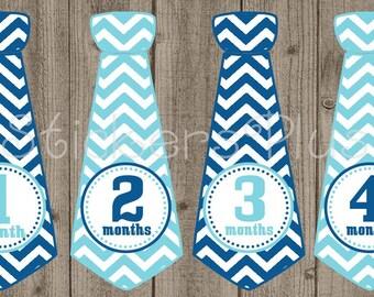Monthly Baby Boy Tie Stickers Neck Tie Necktie Milestone Sticker Monthly Bodysuit Stickers Navy Light Blue White Chevron Baby Gift