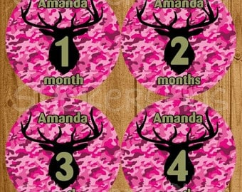 Personalized Baby Month Stickers Custom Name Pink Camo Camouflage Deer Silhouette Hunter Hunting PRECUT Baby Girl Age Sticker Baby Milestone