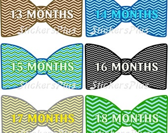 Baby Month Stickers Second Year 13 to 24 Monthly Baby Boy Bow Tie Bowtie Stickers Baby Milestone Stickers Chevron Bright Colors