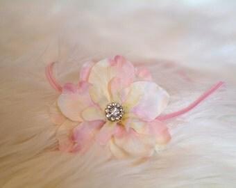 Flower Headband, Newborn Photography Prop, Pink Flower Headband with Rhinestone Center, Photography Prop, Baby Headband