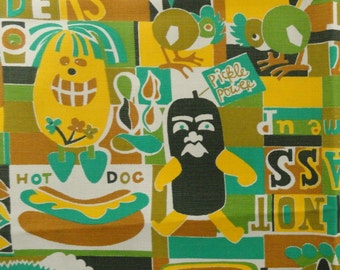 60s Slogans, Traffic Signs, Food and Odd Animal Fabric - 3 1/2 Yards (just shy)