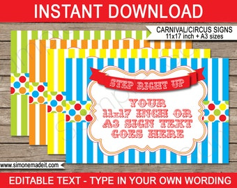 Carnival Game Signs - Carnival Party or Circus Party - INSTANT DOWNLOAD with EDITABLE text - pdf templates - 11x17 inches and A3 sizes