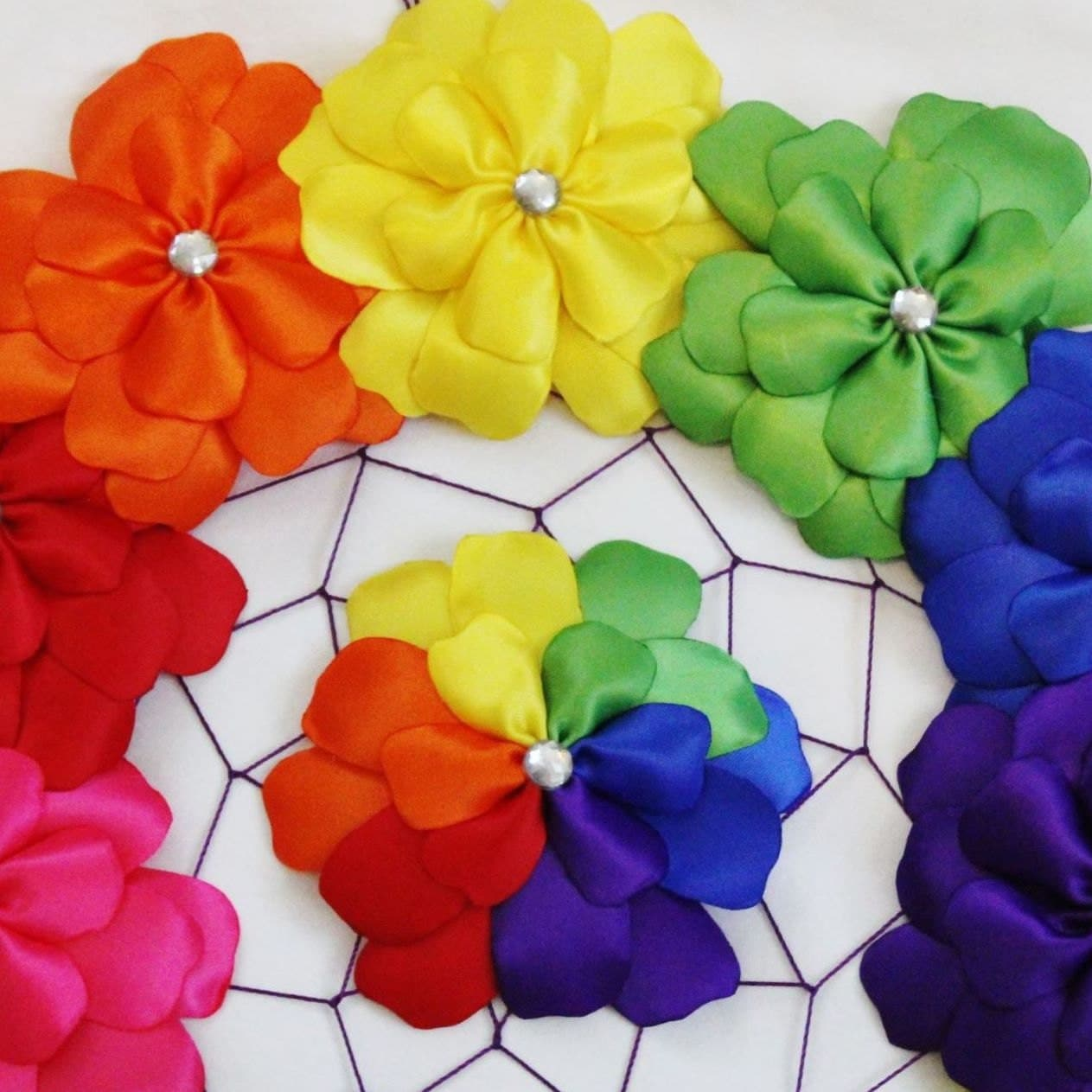Rainbow flower hair clip rainbow petals rainbow hair bow for Rainbow petals