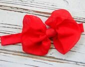 Red Chiffon Bow Headband, Baby Headband, Infant Headband, Red Bow Headband