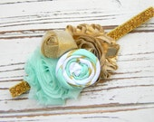 Mint and Gold Shabby Chic Headband - Girls Headband - Baby Headband - Gold Glitter Headband Headband