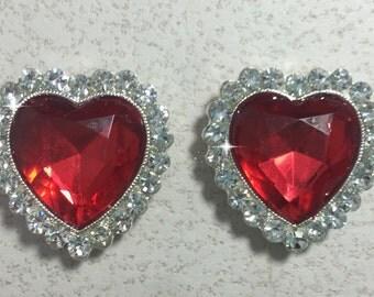 Set of Two, 26mm, Red Rhinestone Flatback Hearts, Rhinestone Hearts, Heart Embellishments, Valentine's Hearts, Rhinestone Hearts