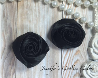 "Set of TWO Black 2"" Satin Rosette Flower Heads, Rolled Roses Wholesale Mini Rosettes for Baby Headbands"