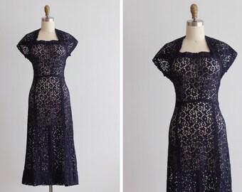 1940s Navy Blue Marion Lace Dress
