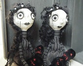 Handmade Gothic Ooak Creepy Gothic Rag Art Dolls - *The Sisters *