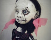 Ooak Gothic Doll Black & Red With Bunny